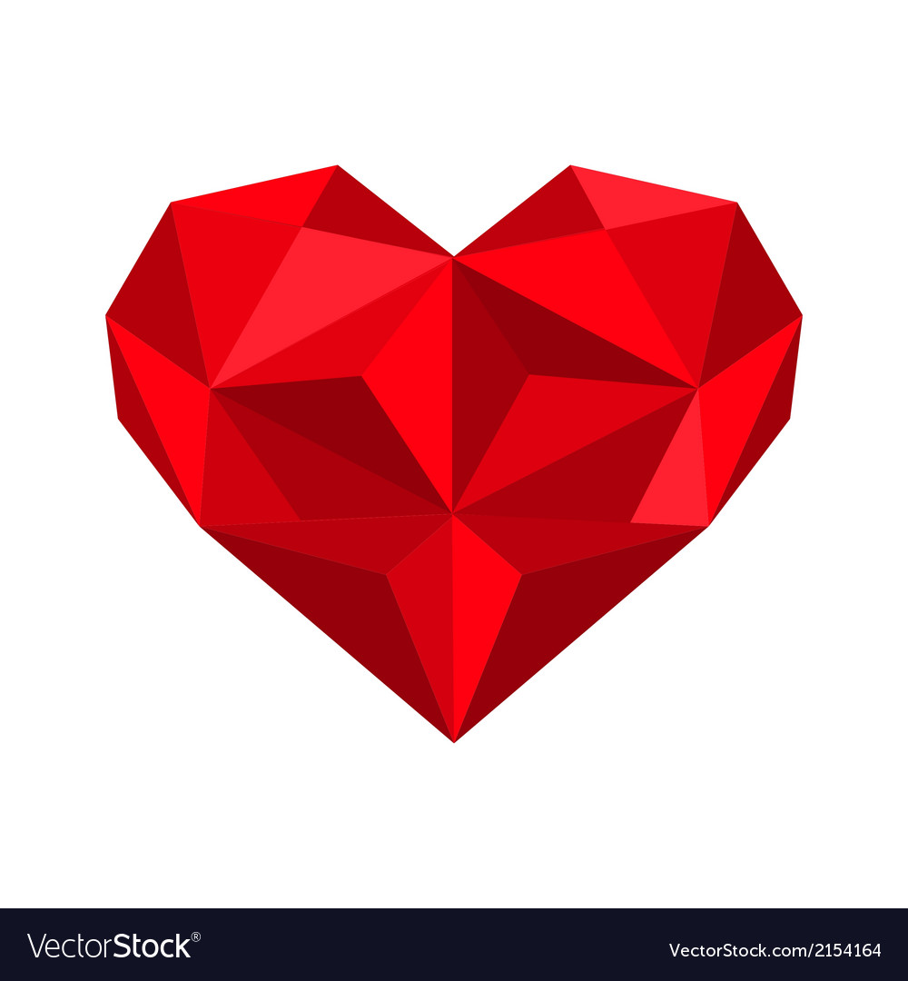 Origami red heart vector