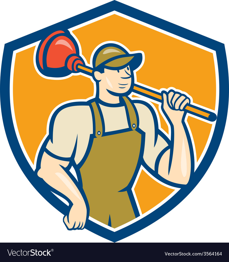 Plumber holding plunger cartoon vector | Price: 1 Credit (USD $1)
