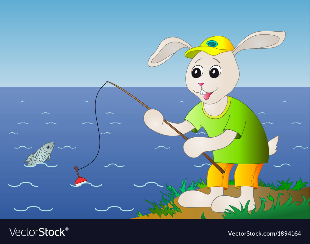 Rabbit fisherman fishes in the sea vector | Price: 1 Credit (USD $1)