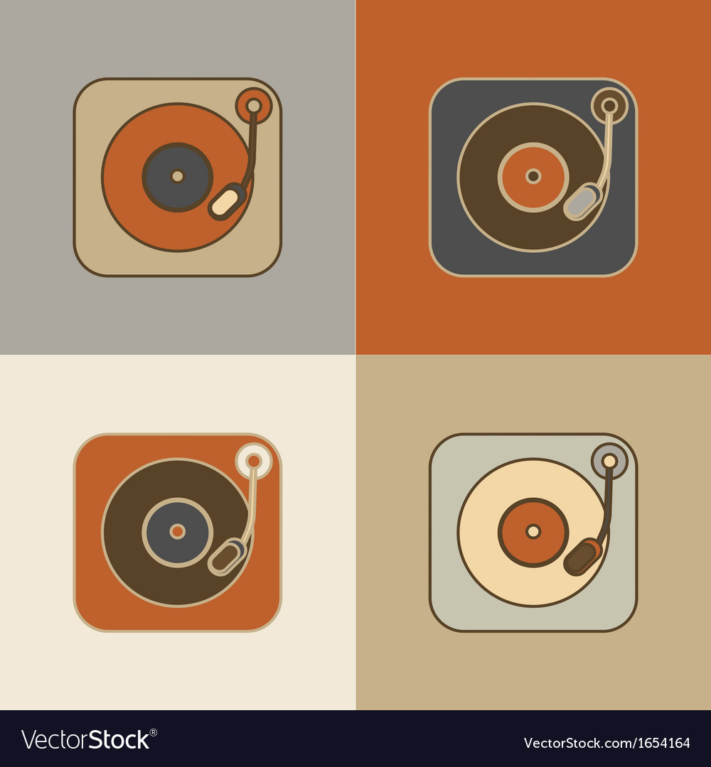 Retro record player icons vector | Price: 1 Credit (USD $1)