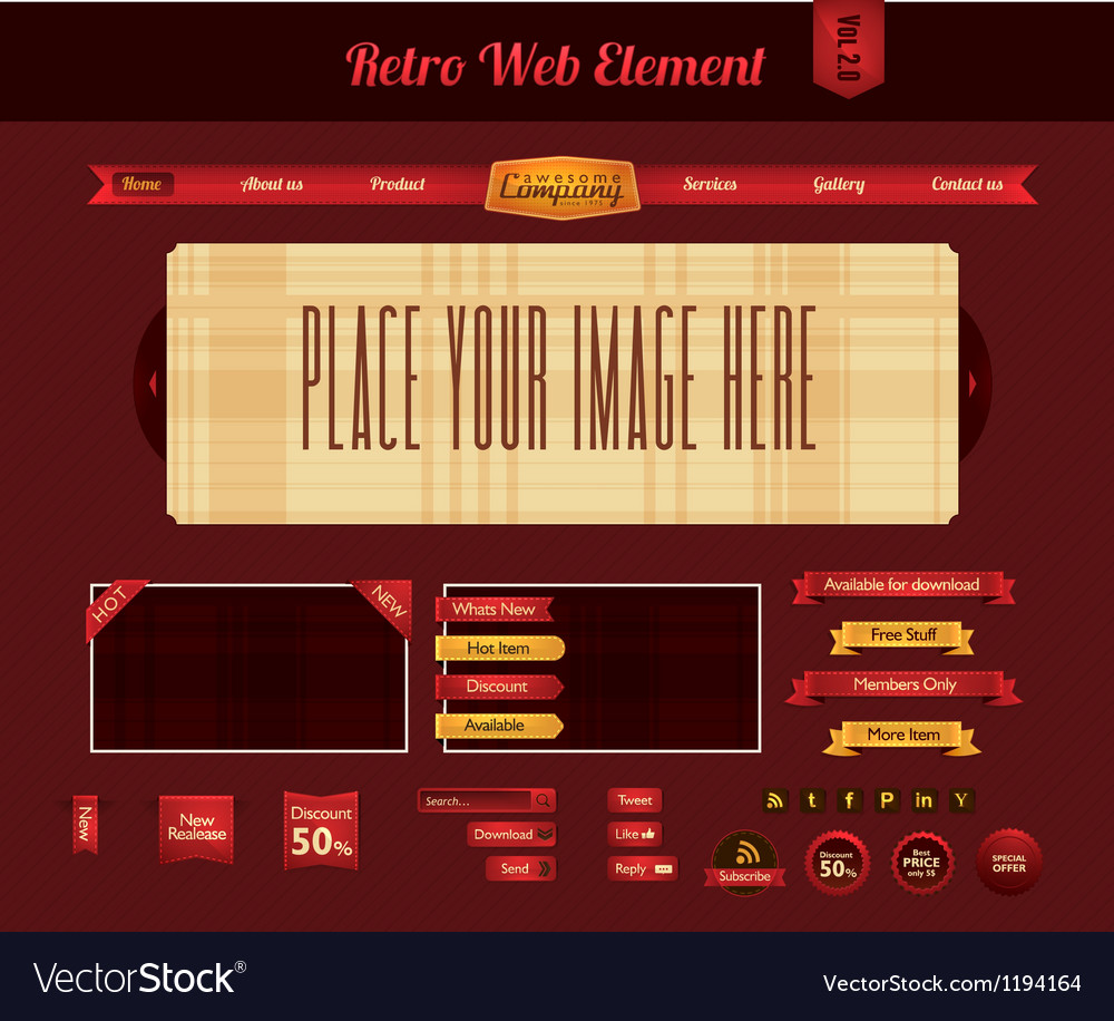 Retro web element 2 vector | Price: 1 Credit (USD $1)