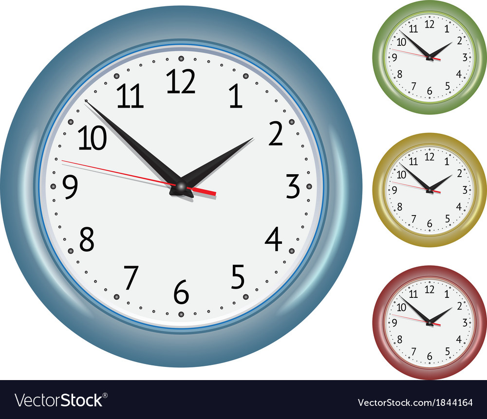 Set of wall mechanical clocks vector | Price: 1 Credit (USD $1)
