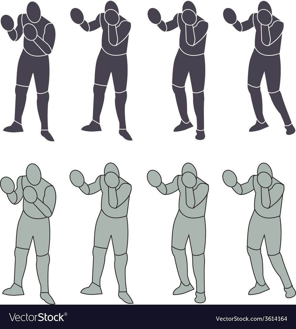 Silhouette person boxeo vector | Price: 1 Credit (USD $1)