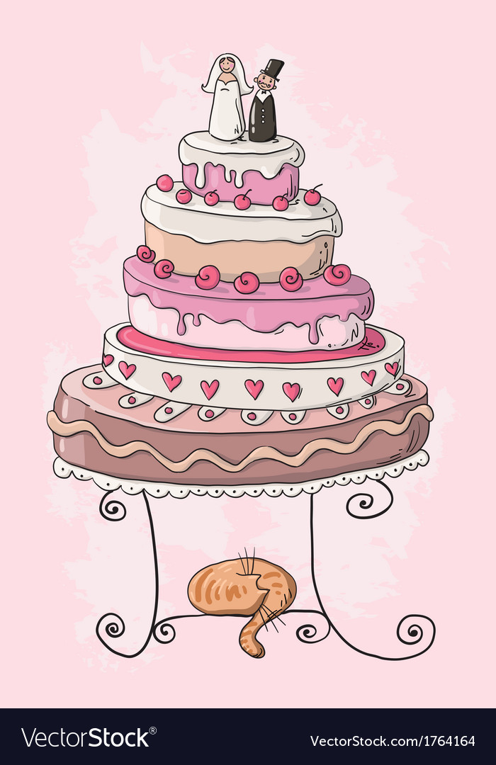 Wedding cake cartoon vector
