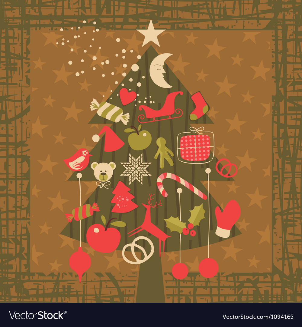 Advent christmas tree greeting card background vector | Price: 1 Credit (USD $1)