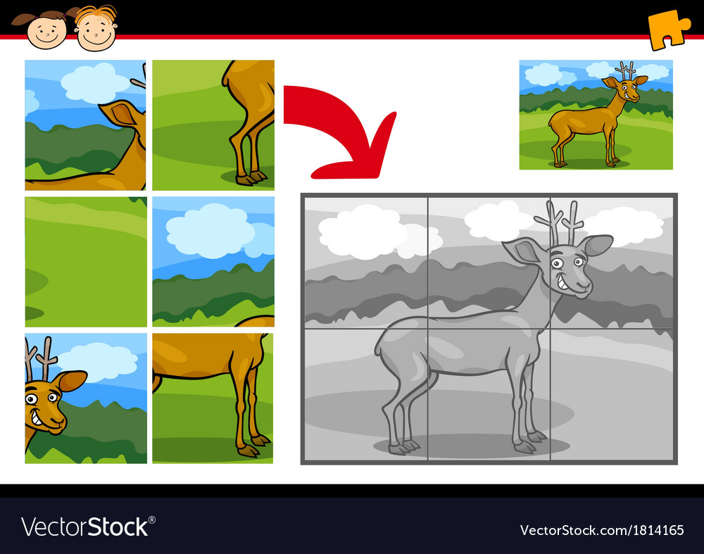Cartoon deer jigsaw puzzle game vector | Price: 1 Credit (USD $1)