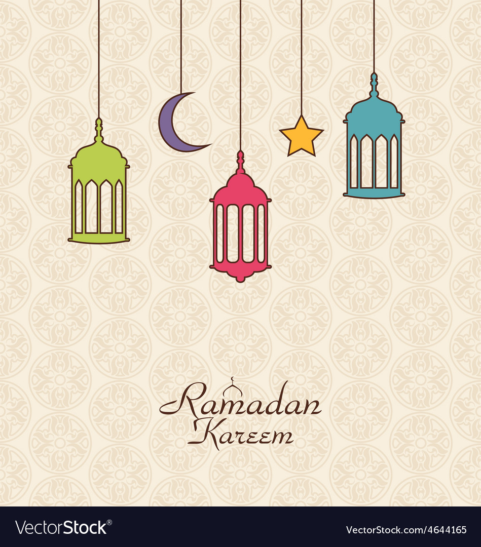 Celebration islamic card with arabic hanging lamps vector | Price: 1 Credit (USD $1)