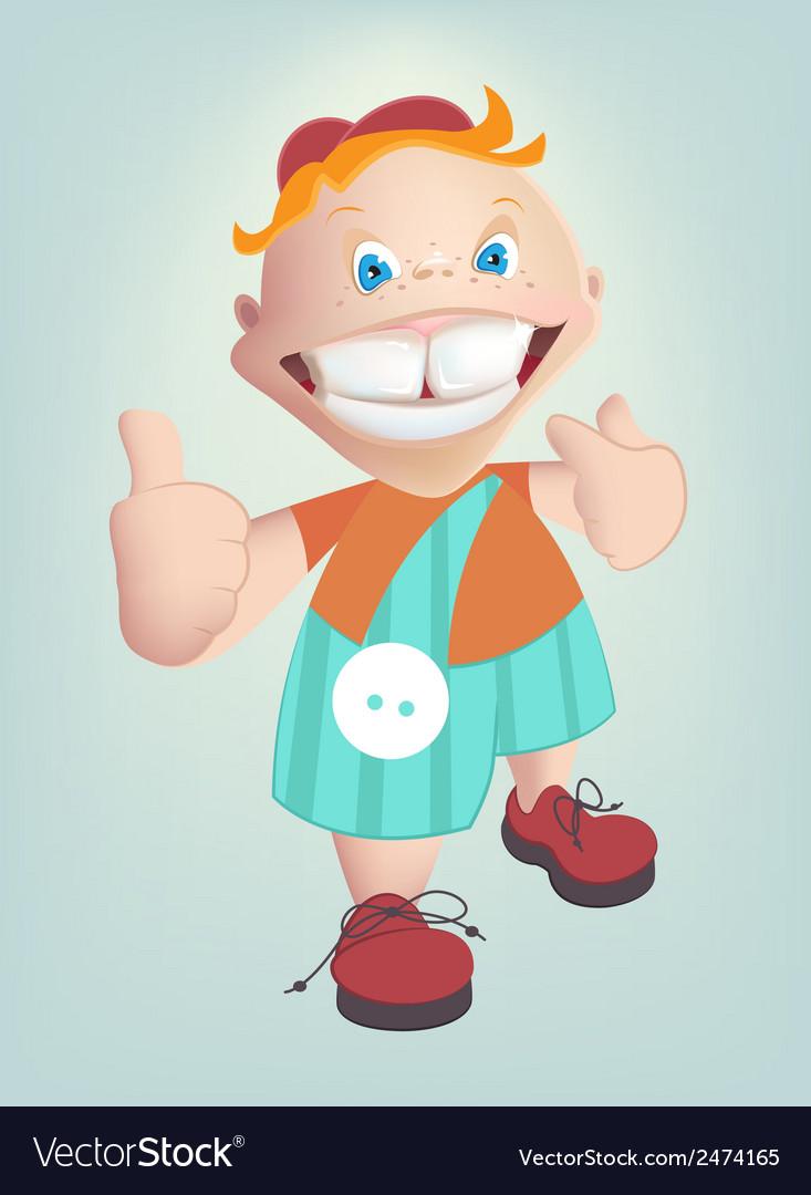 Child shows healthy teeth cartoon vector | Price: 1 Credit (USD $1)