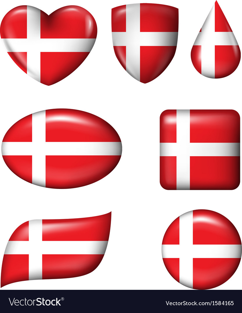 Denmark flag in various shape glossy button vector | Price: 1 Credit (USD $1)