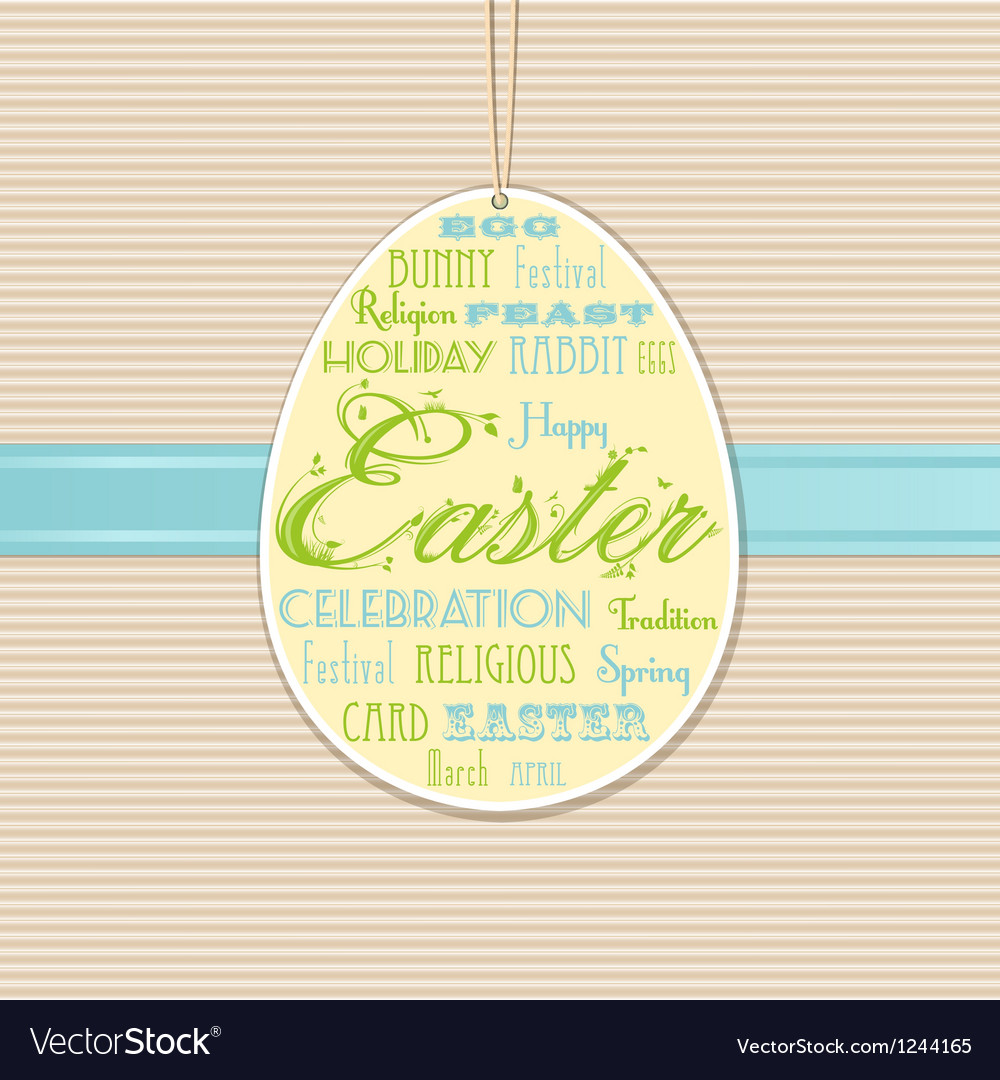 Easter background with hanging label vector | Price: 1 Credit (USD $1)