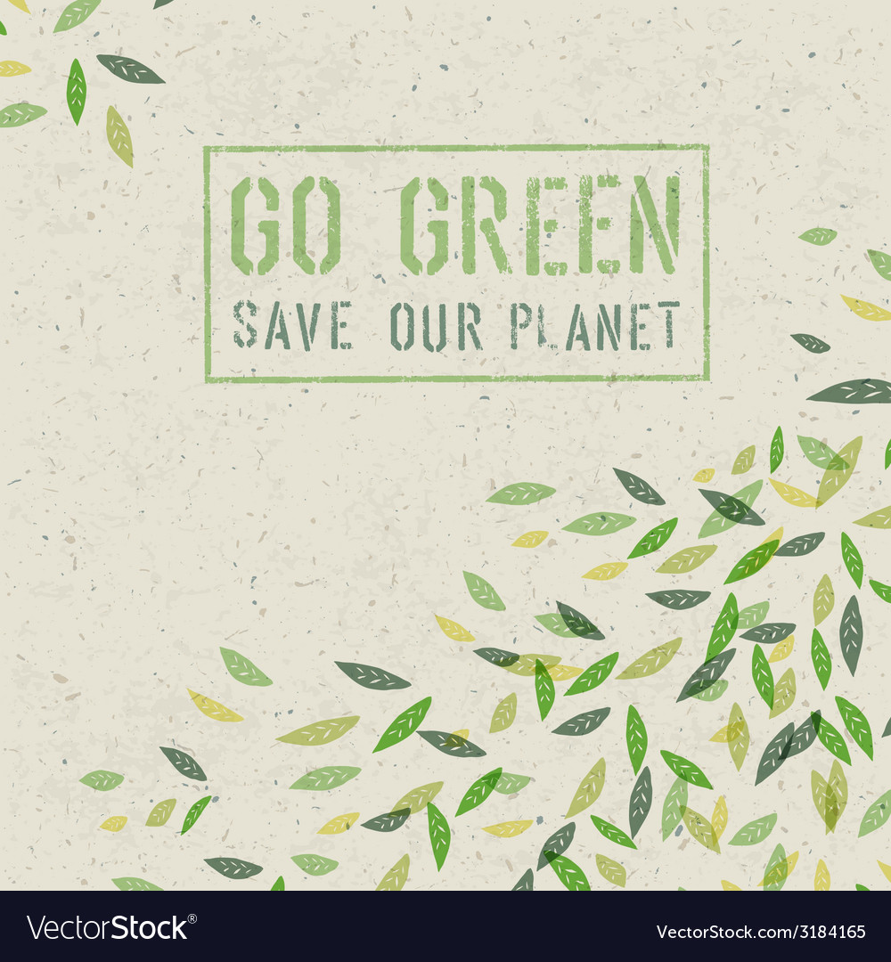 Go green concept poster vector | Price: 1 Credit (USD $1)