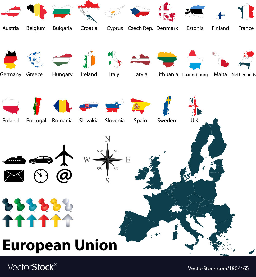 Maps with flags of european union vector | Price: 1 Credit (USD $1)