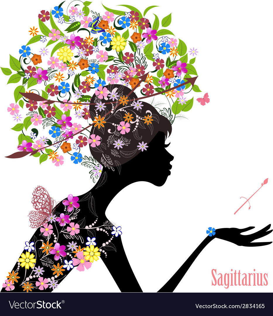 Zodiac sign sagittarius fashion girl vector | Price: 1 Credit (USD $1)
