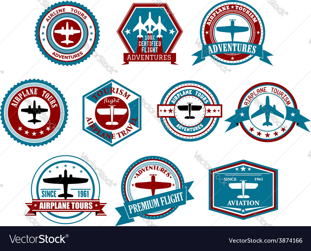 Aviation labels or badges in retro style vector | Price: 1 Credit (USD $1)