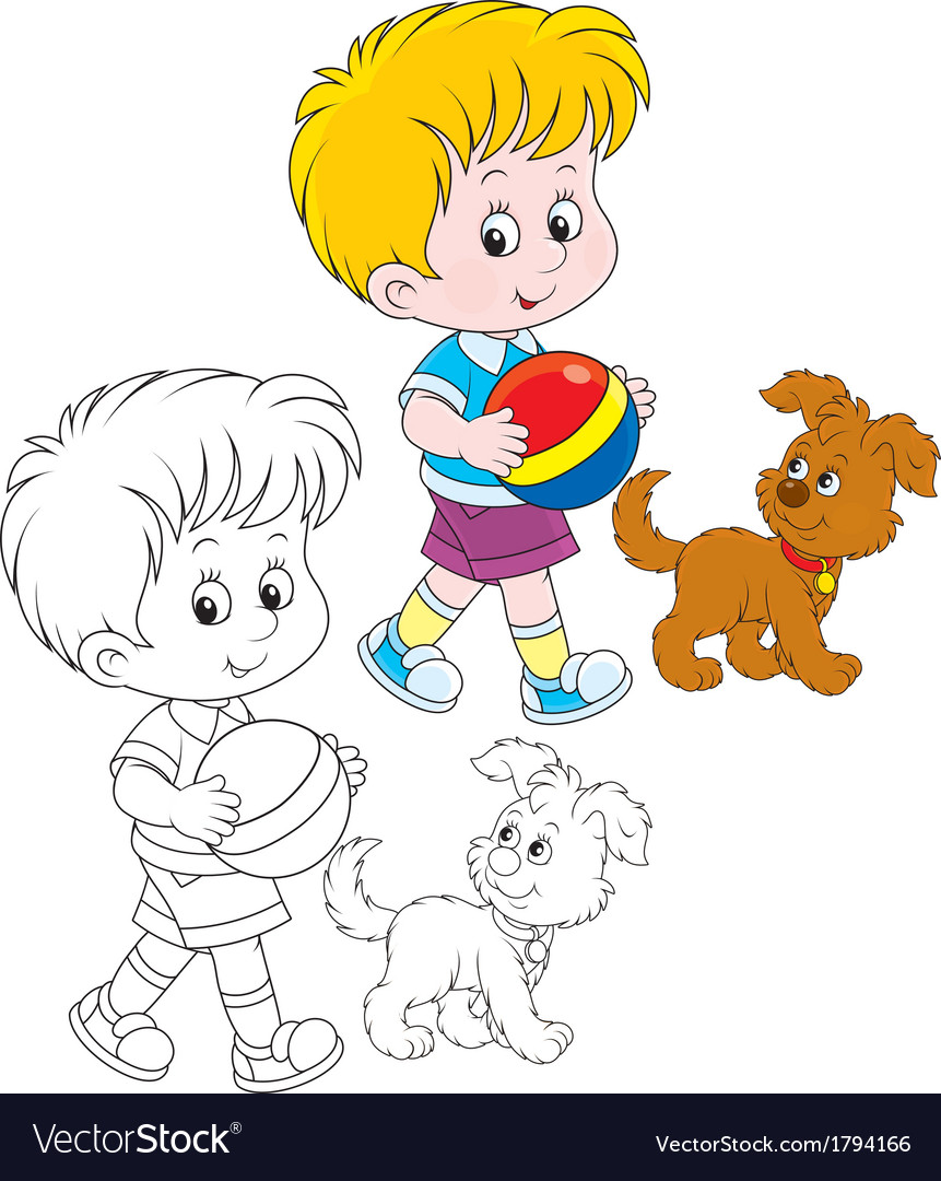 Boy and pup vector | Price: 1 Credit (USD $1)