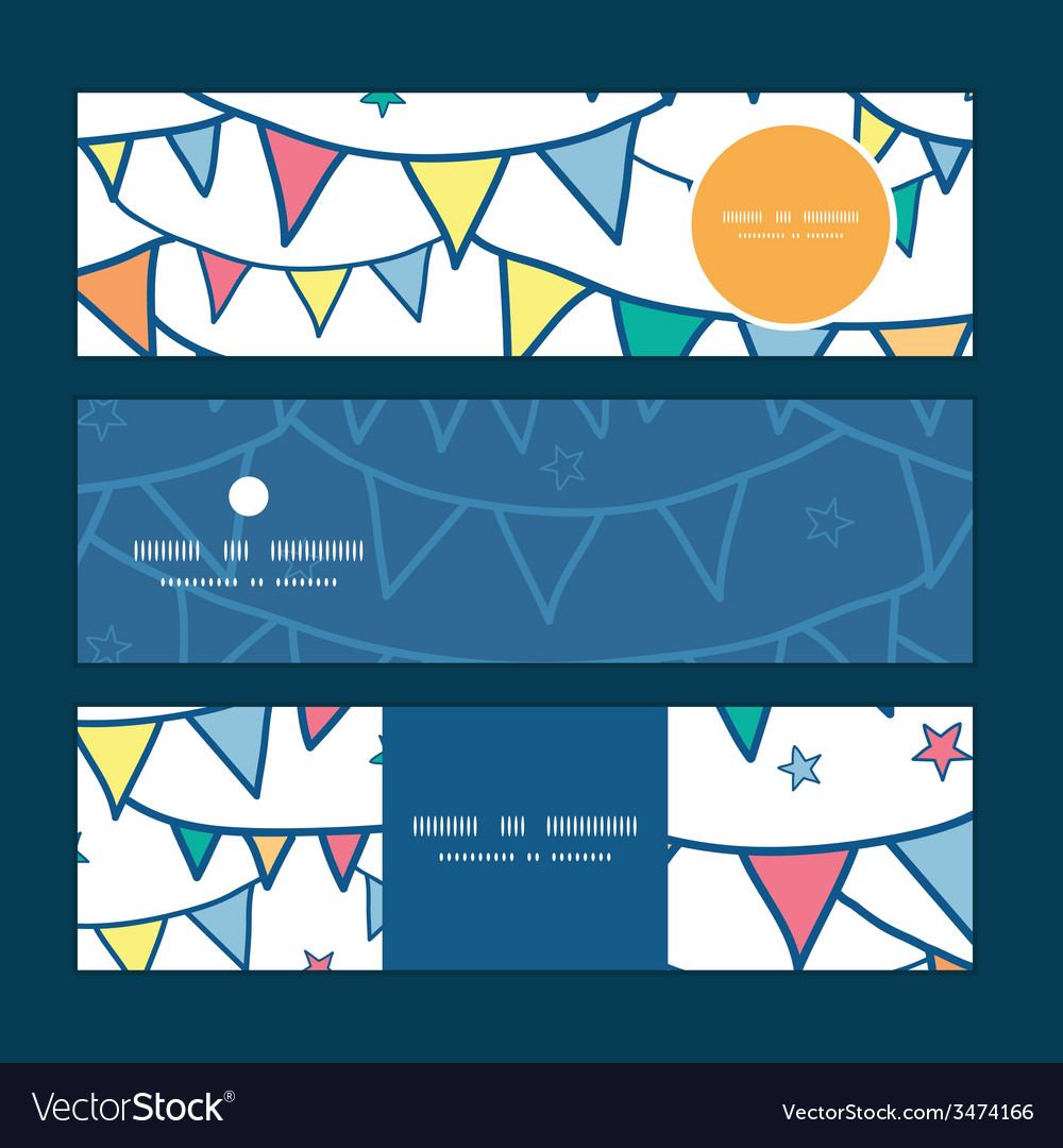 Colorful doodle bunting flags horizontal banners vector | Price: 1 Credit (USD $1)