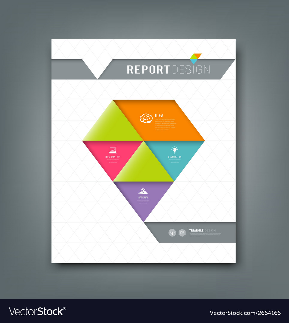 Cover report colorful origami paper triangle vector | Price: 1 Credit (USD $1)