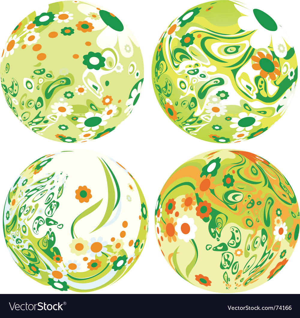 Floral globes vector | Price: 1 Credit (USD $1)