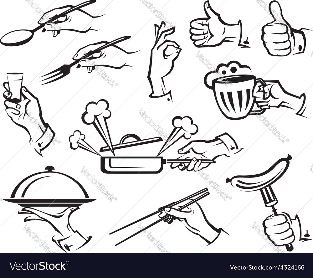 Food and hands vector