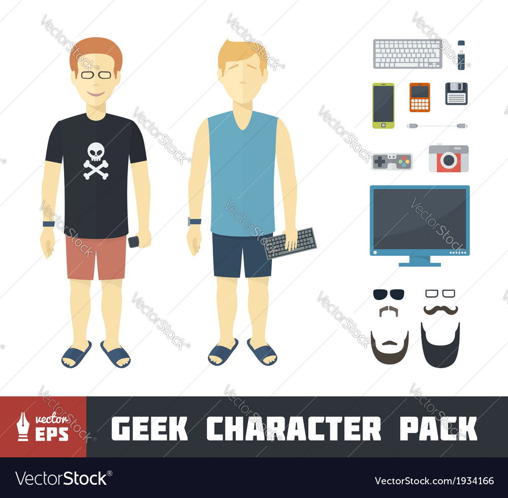 Geek character set vector | Price: 1 Credit (USD $1)