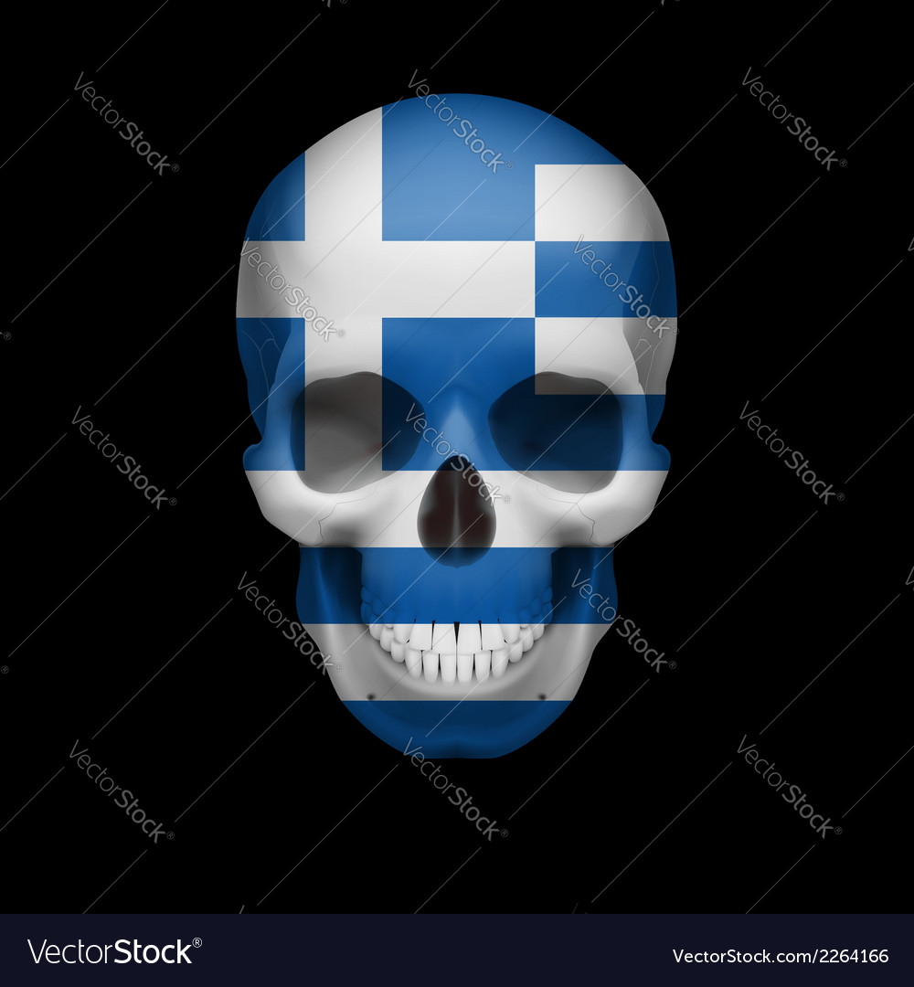 Greek flag skull vector | Price: 1 Credit (USD $1)