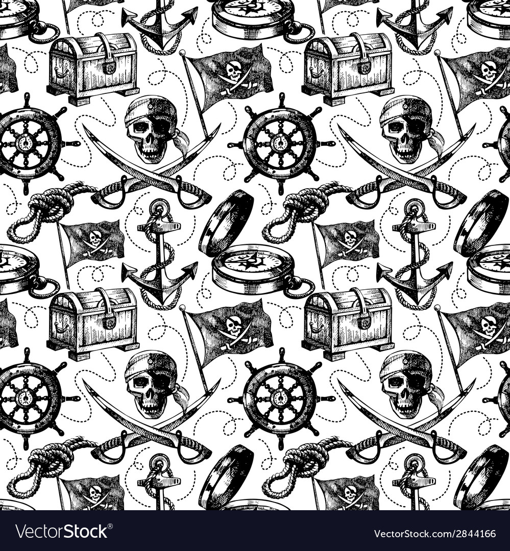 Hand drawn pirate seamless pattern vector | Price: 1 Credit (USD $1)