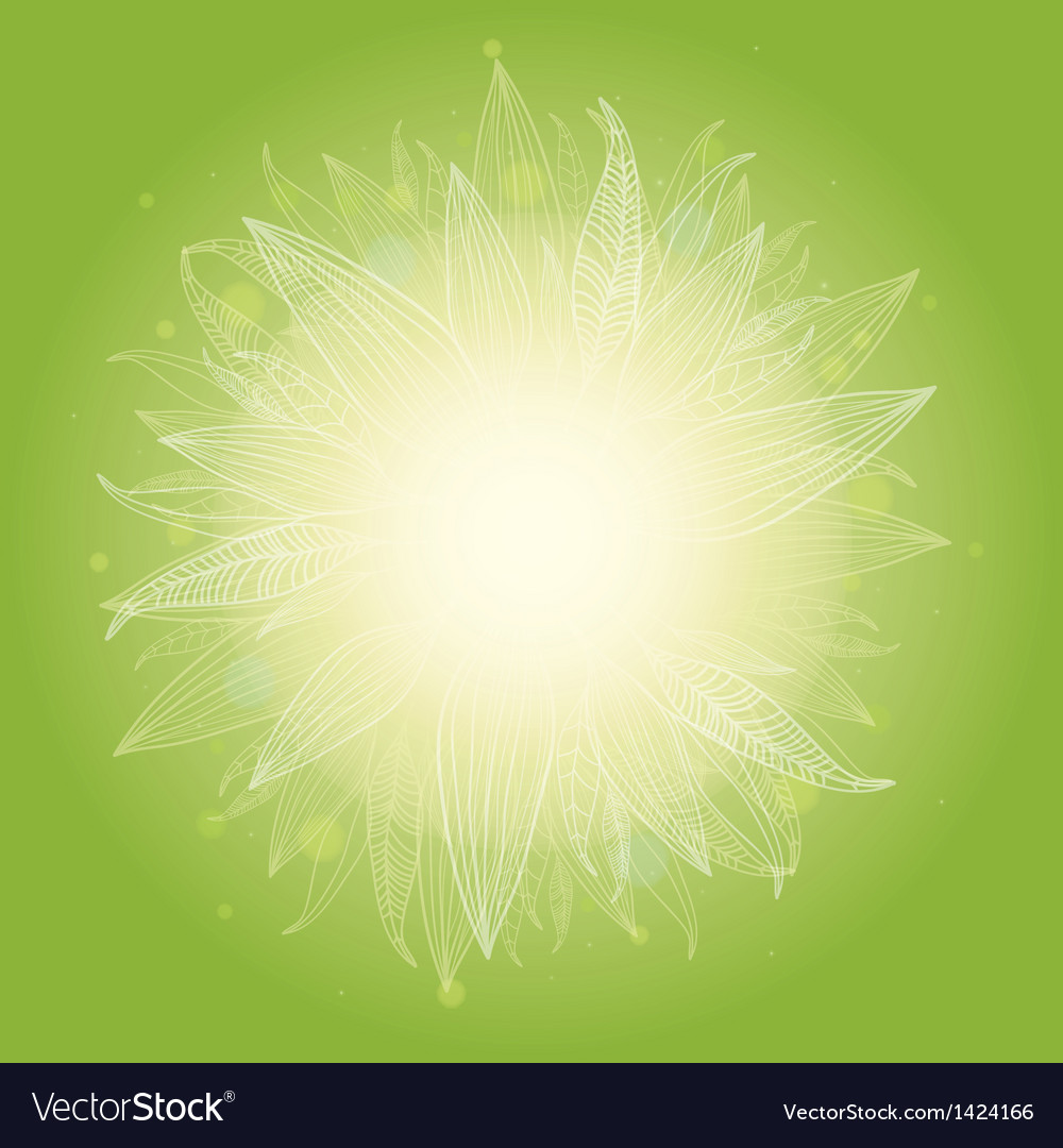 Magical green leaves sunburst background vector | Price: 1 Credit (USD $1)
