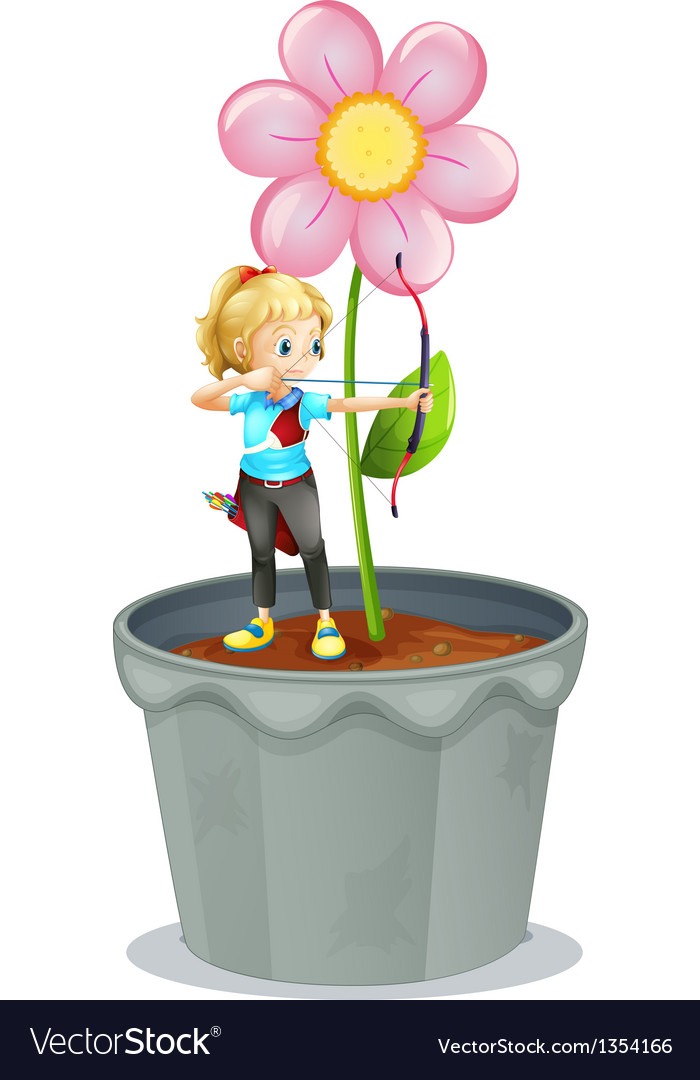 Pot flower archer girl vector | Price: 1 Credit (USD $1)