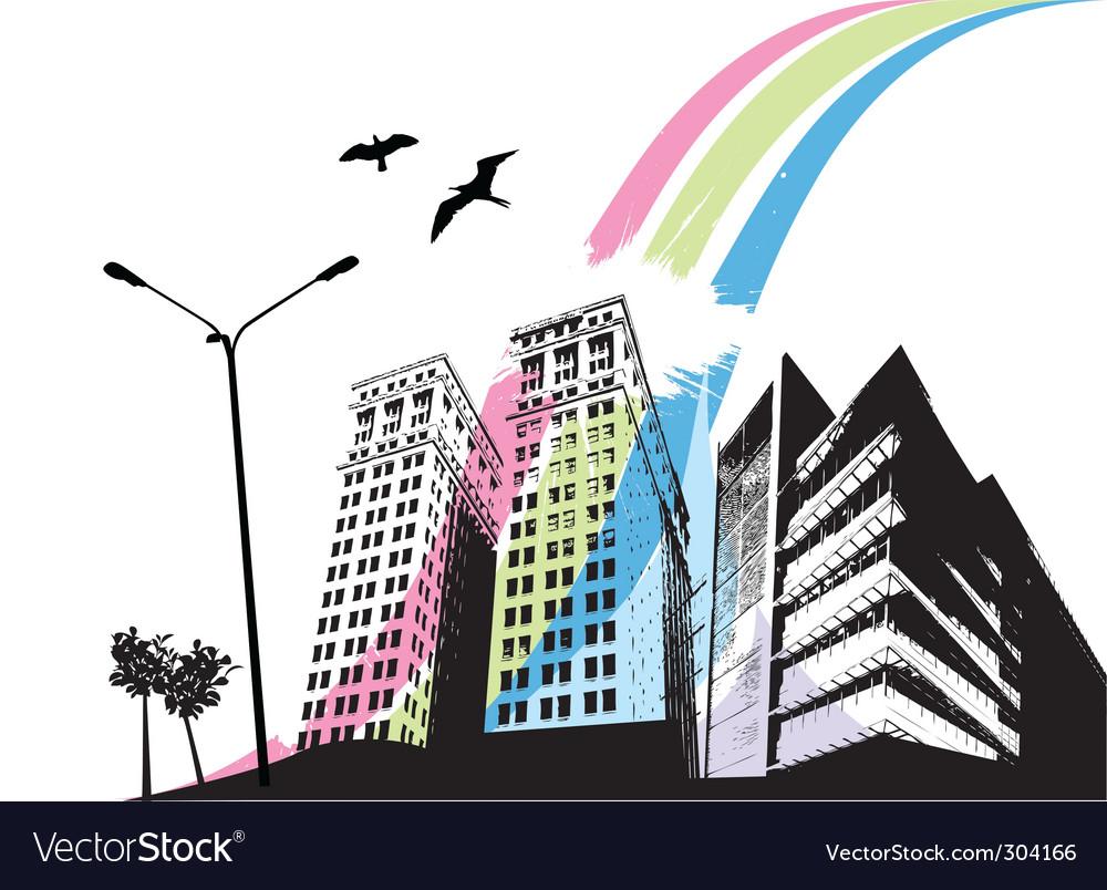 Rainbow city vector | Price: 1 Credit (USD $1)