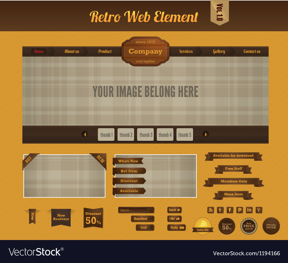 Retro web element 1 vector | Price: 1 Credit (USD $1)