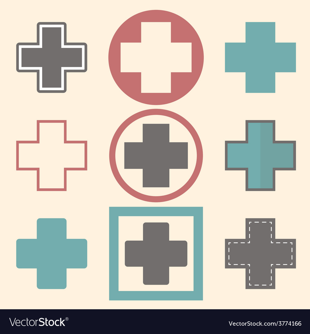 Set of medical logo icons with crosses vector | Price: 1 Credit (USD $1)