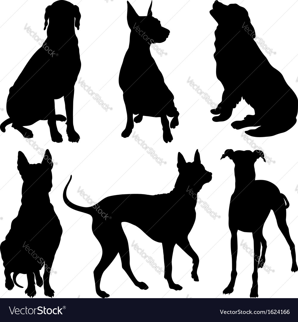 Set of silhouettes of dogs vector | Price: 1 Credit (USD $1)