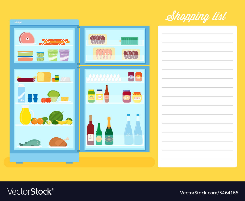 Shopping list flat style refrigerator vector | Price: 1 Credit (USD $1)
