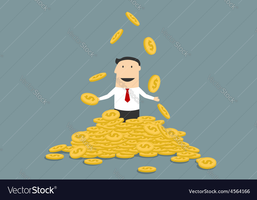 Successful businessman juggling his money coins vector | Price: 1 Credit (USD $1)