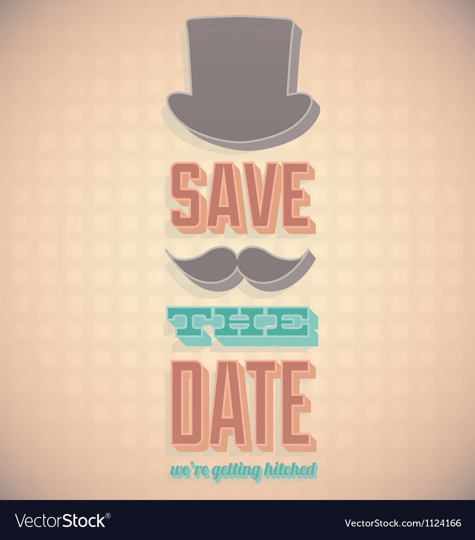 Vintage save the date card vector | Price: 1 Credit (USD $1)