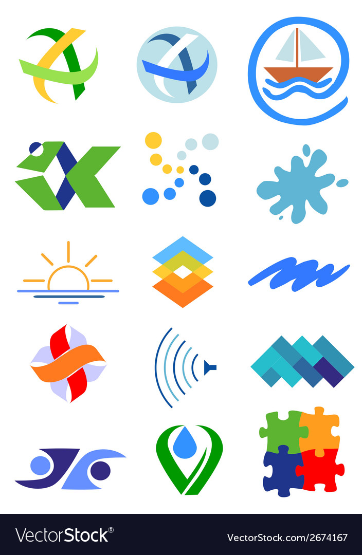 Nature water icons symbols vector | Price: 1 Credit (USD $1)