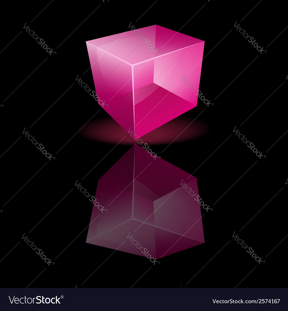 Pink glass cube on a smooth surface vector | Price: 1 Credit (USD $1)