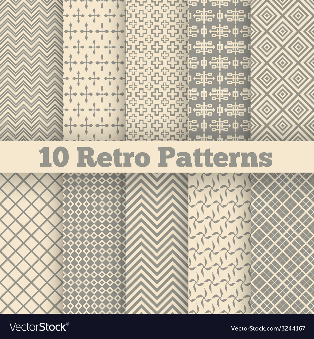 Retro different seamless patterns vector | Price: 1 Credit (USD $1)