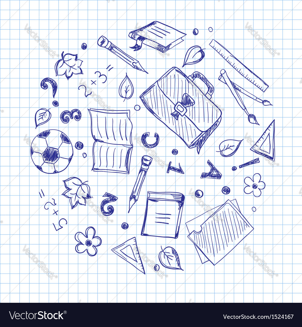 School elements on a squared paper vector | Price: 1 Credit (USD $1)
