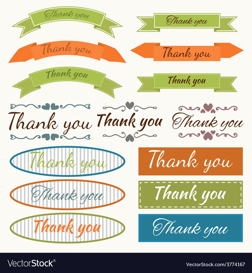 Set of thank you stickers badges ribbons and tags vector | Price: 1 Credit (USD $1)