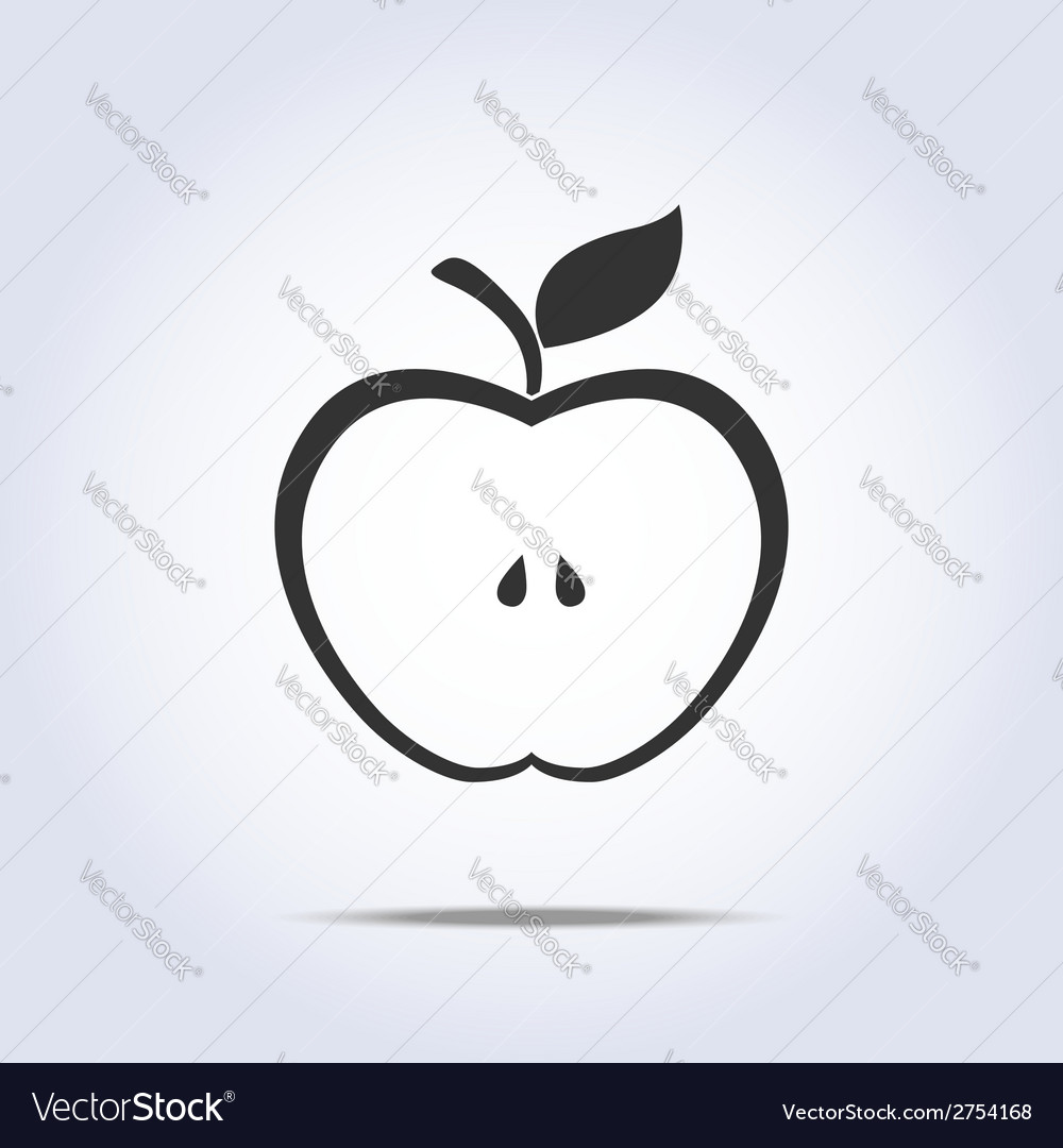 Apple half icon vector | Price: 1 Credit (USD $1)