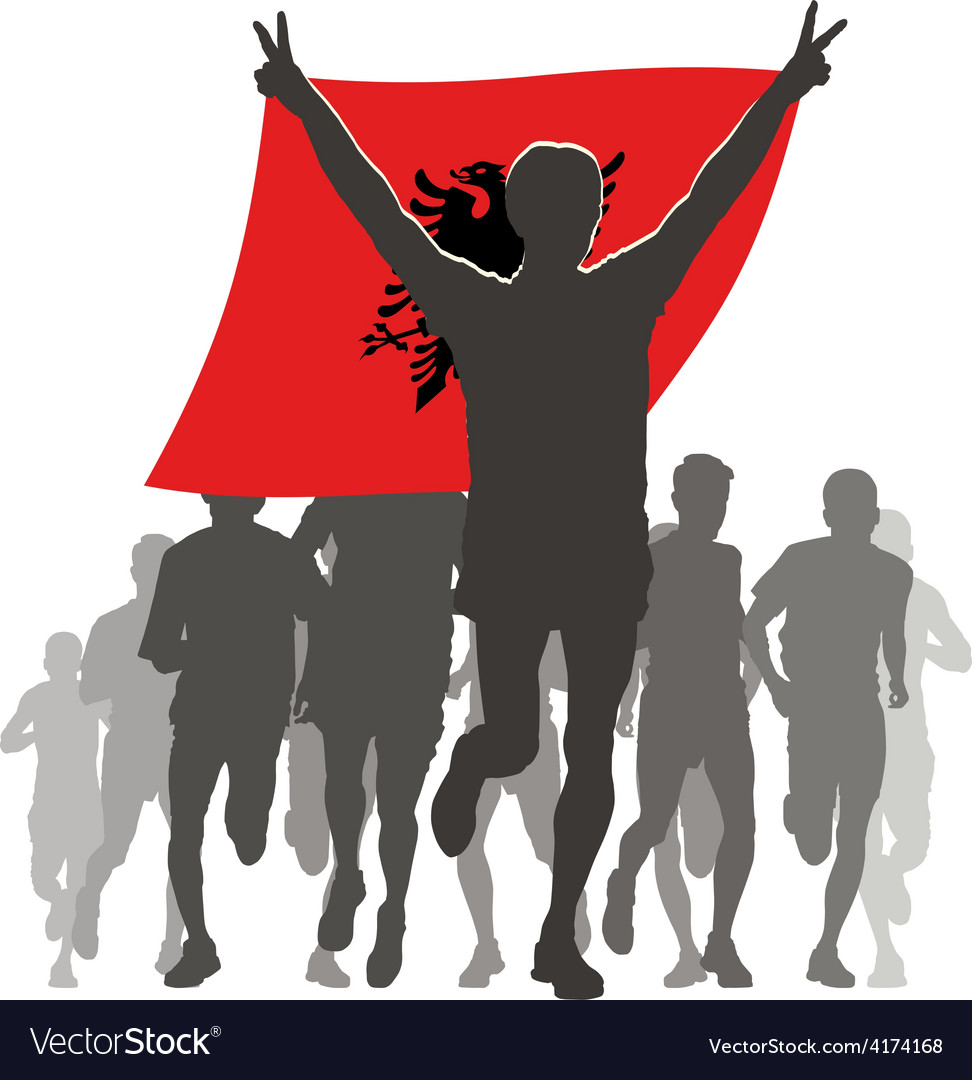Athlete with the albania flag at the finish vector | Price: 1 Credit (USD $1)