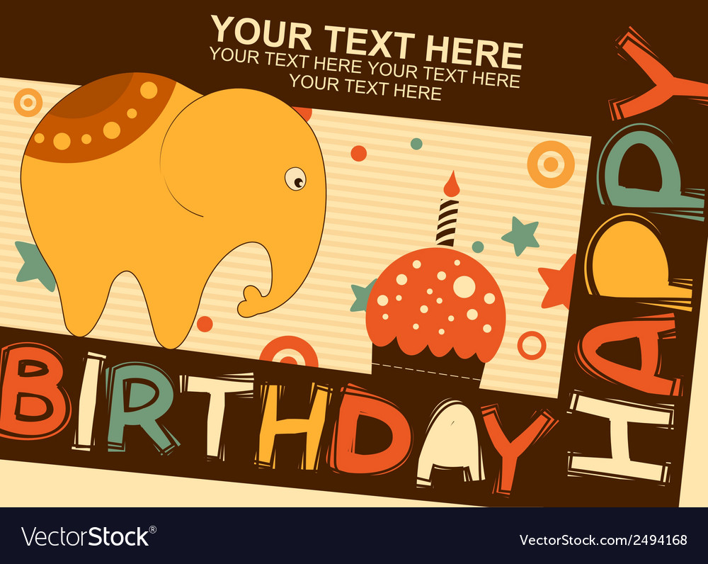 Baby elephant birthday vector | Price: 1 Credit (USD $1)