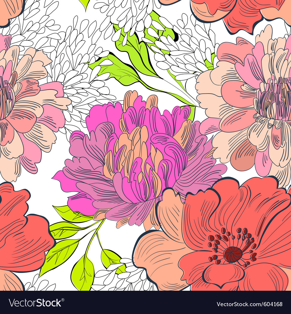 Decorative floral seamless wallpaper vector | Price: 1 Credit (USD $1)