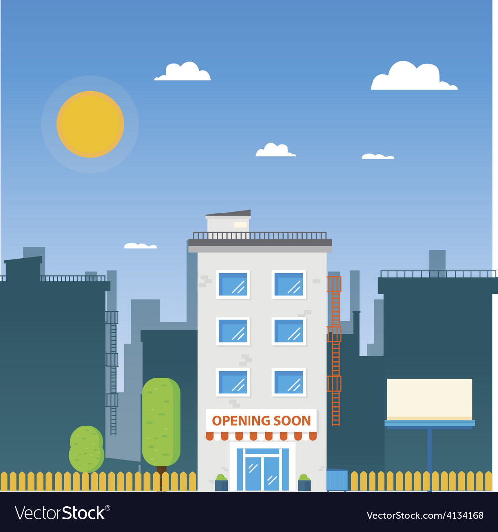 Flat street building vector | Price: 1 Credit (USD $1)