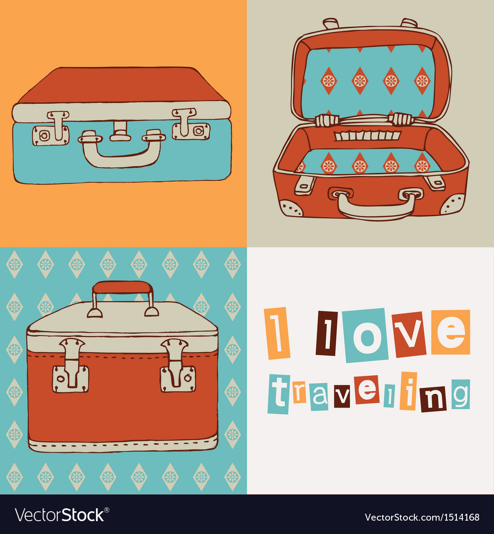 Hand drawn suitcases vintage pattern vector | Price: 3 Credit (USD $3)