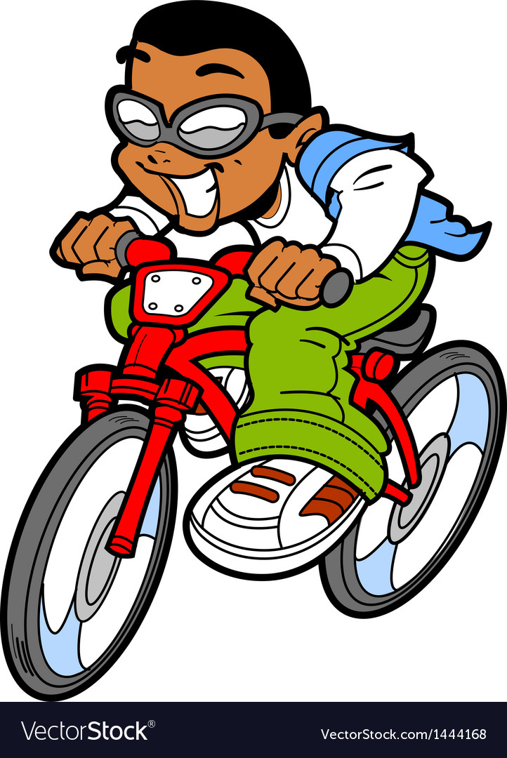 Happy boy riding bike vector | Price: 1 Credit (USD $1)