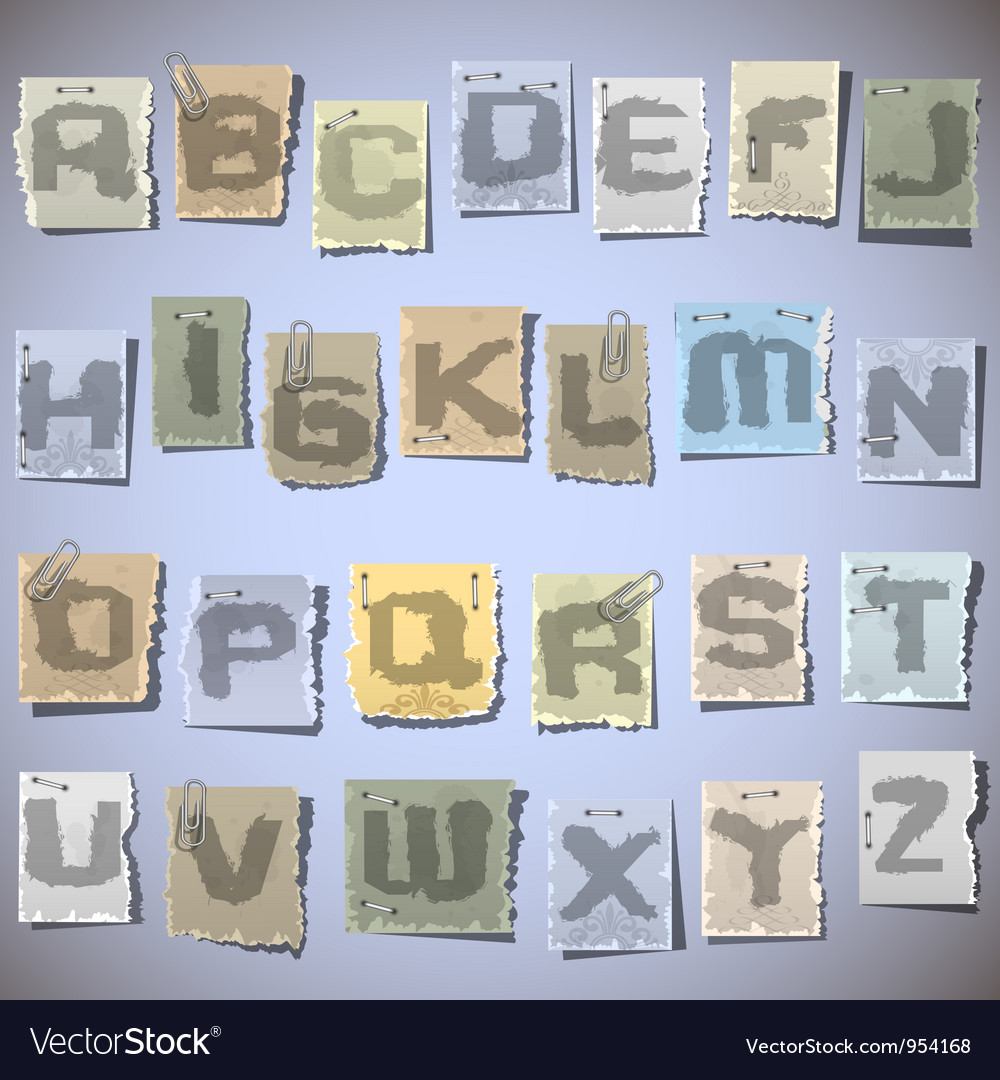 Ink alphabet on pieces of old paper vector | Price: 1 Credit (USD $1)