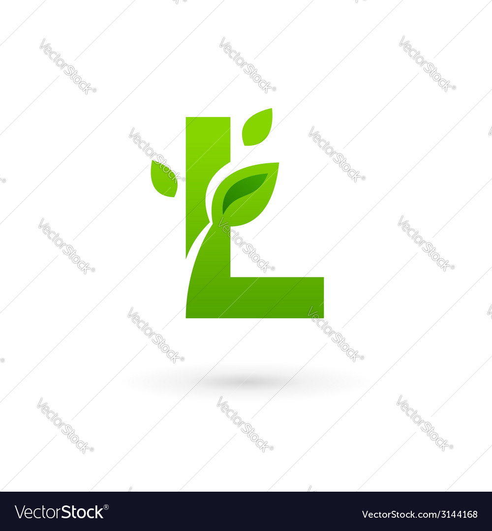 Letter l eco leaves logo icon vector | Price: 1 Credit (USD $1)