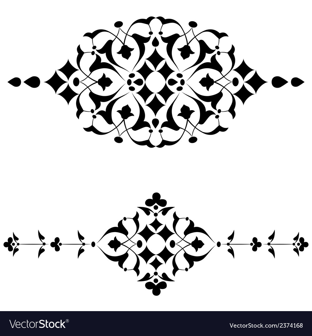 Ottoman motifs black design series of fifty four vector | Price: 1 Credit (USD $1)